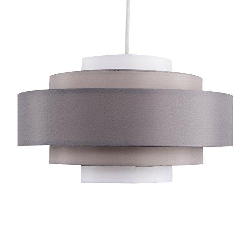 MiniSun – Moderner 5-stufiger Lampenschirm mit 3-farbigem Finish in dunkelgrau, hellgrau und weiß – für Hänge- und Pendelleuchte