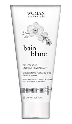 BAIN Blanc 200 ml - VERHELDERENDE, HERSTELLENDE DOUCHEGEL. Intieme zones en Lichaam. Rijpende of verzwakte Huid. Hyperpigmentatieproblemen. Verzorgende Nabehandeling voor na Ingrepen. Met Hyaluronzuur en Witte Orchidee.