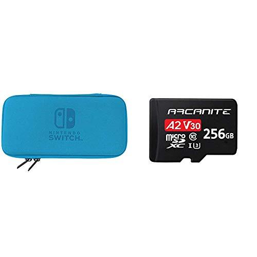 Hori, Funda Rígida Azul (Nintendo Switch Lite) + ARCANITE, tarjeta de memoria microSDXC de 256 GB con adaptador SD, A2, UHS-I U3, V30, 4K, C10, Micro SD, Velocidad lectura hasta 95 MB/s