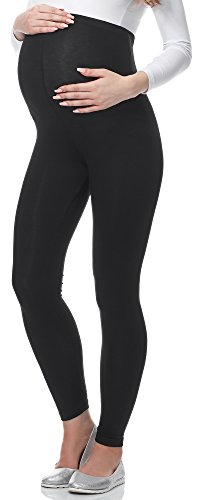 Be Mammy Lange Umstandsleggings aus Viskose BE-02 (Schwarz, L)