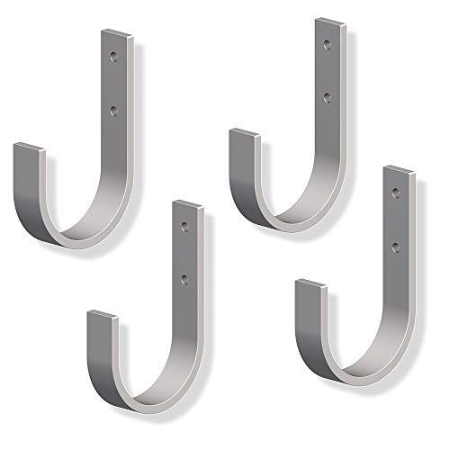 Gedotec Wandhaken Schwerlast-Haken Metall Einhängehaken gebogen für Garage & Leiter   Metallhaken 70 x 110 mm   stabiler Gerätehalter zum Schrauben   4 Stück - Geräte-Haken U-Form für Wand-Montage