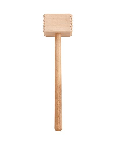 HIC Harold Import Co. Wooden Meat Tenderizer Mallet Marinating Prep Tool, Double Sided, FSC-Certified Eco-Friendly Beechwood, Wood