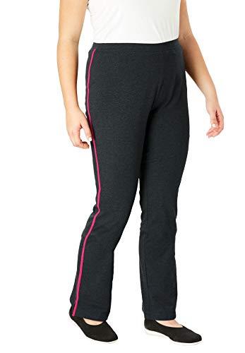 Woman Within Women's Plus Size Tall Stretch Cotton Side-Stripe Bootcut Yoga Pant - 3X, Black Gunmetal