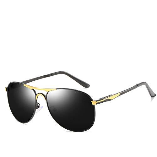 Gafas de Sol,Gafas de sol polarizadas retro clásicas para hombre, gafas de sol de rana, montura negra, montura dorada, película gris negra n. ° 2