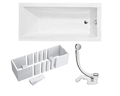 VBChome Badewanne 180x80 cm Acryl SET Siphon Wanne Rechteck Weiß Design Modern Wannenträger Ablaufgarnitur Chrome Viega Simplex