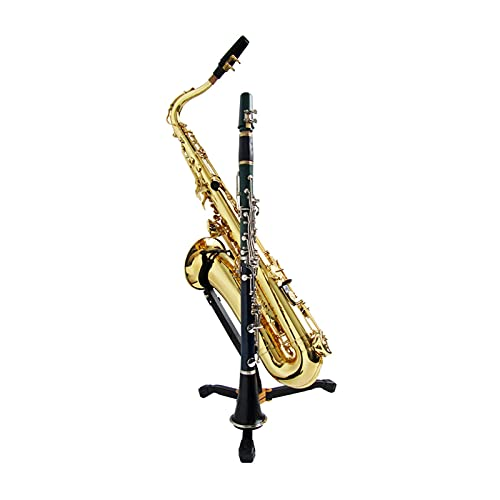 Yi-Achieve Foldable Portable Alto Tenor Saxophone Stand Sax Tripod Holder Instrument Saxophone Accessories for Saxophone Clarinet Flute (Bl (Color : Black)