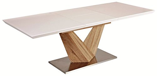 Hochglanz Weiß Esstisch Alaras 90x160x75 ausziehbar auf 220cm Säulentisch Sonoma Eiche Holz