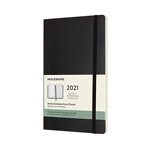 Moleskine Wochenplaner 2021, 12 Monate Wochenkalender, Wochenplaner und Notizbuch, weicher Einband, Format Groβ 13 x 21 cm, farbe schwarz, 144 Seiten