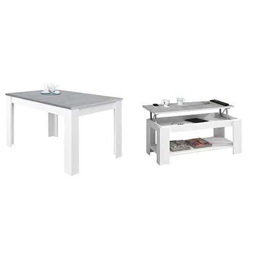 Habitdesign Mesa de Comedor Extensible, Mesa salón o Cocina, Acabado en Color Blanco Artik y Gris Cemento, Modelo Kendra + Mesa Centro con revistero