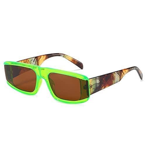 Gafas de Sol Sunglasses Gafas De Sol Cuadradas De Moda para Mujer, Gafas De Sol De Viaje De Lujo, Gafas Verdes Fluorescentes para Hombre, Vintage Femme C3Greentea