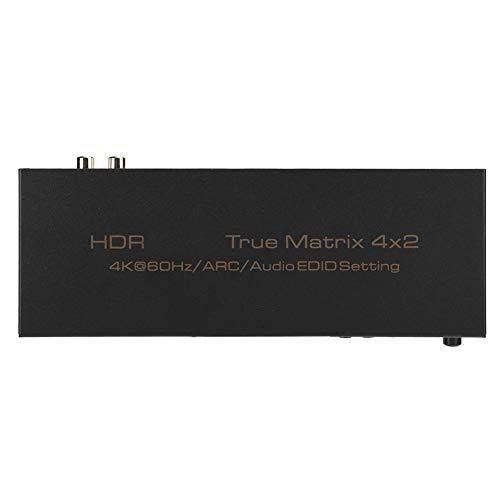 Convertidor de video, 200mAh 100-240V HDMI 4X2 Matrix 4K Aleación de aluminio Convertidor de video HDR ligero incorporado, para RCA x 2(EU plug)