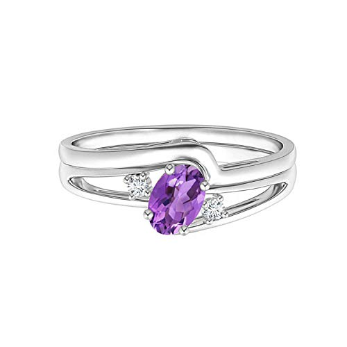 Shine Jewel Acento Solitario Anillo de Compromiso de Plata 925 con Piedras Preciosas de Amatista Ovalada 1.0 CTW para Mujer (10)