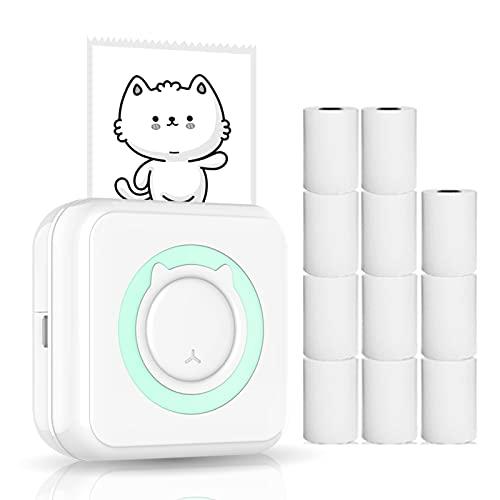 Kstyhome Mini stampante multifunzione all-in-one Stampante fotografica portatile multifunzione per smartphone Stampante termica per immagini istantanee wireless con 11 rotoli di carta
