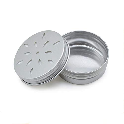 10 Pcs 2 OZ Aluminum Screw Top Round Steel Cans Aluminum Tin Cans,Hollow Threaded Aluminum Box,With Screw Lid Screw Lid Containers. For Cosmetics, Spices,Candy,Tea And Gadgets. (Silver)
