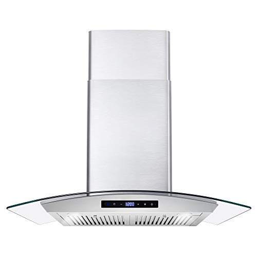 Cosmo COS-668AS750 30 in. Wall Mount Range Hood with 380 CFM, Curved Glass, Ductless Convertible Duct, 3 Speeds, Permanent Filters...