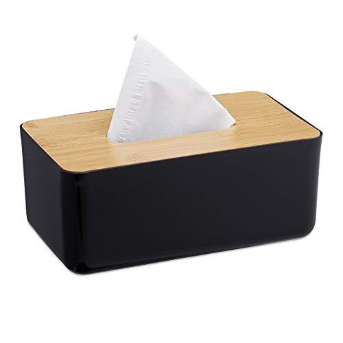Relaxdays Taschentuchbox, nachfüllbar, Badezimmer, Tücherbox, Bambus-Deckel, Kunststoff, HBT: 10x23x13 cm, schwarz/Natur, 1 Stück