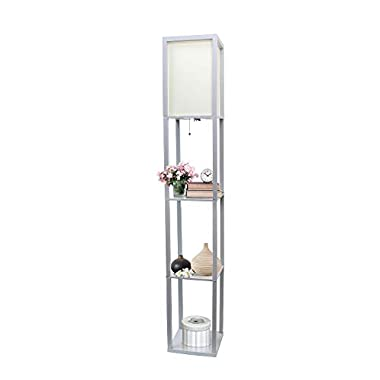 Simple Designs Home LF1014-GRY Floor Lamp Organizer Storage Shelf with Linen Shade, Gray