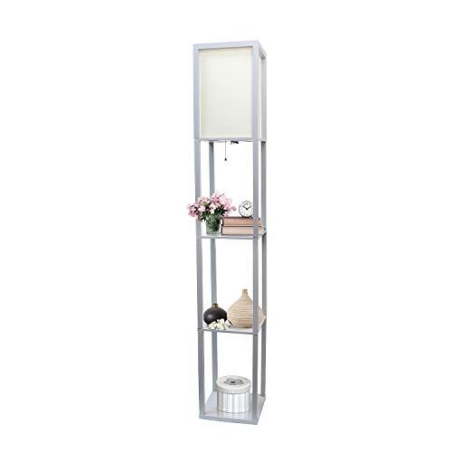 Simple Designs Home LF1014-GRY Etagere Organizer Storage Shelf Linen Shade Floor Lamp, Gray