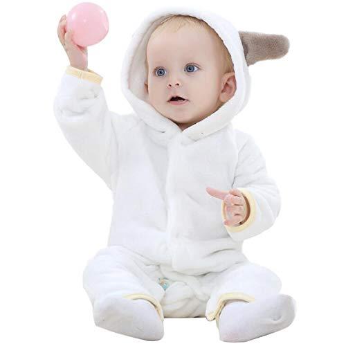 Bébé Barboteuse Enfant Flanelle Pyjama Filles Combinaison Garçons Grenouillères Costume Tenue d'hiver Style Animal (Bear White,80cm)
