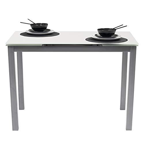 Homely Mesa de Cocina Extensible Paris sobre de Cristal Blanco y Estructura en Metal Gris 110/170x70cm (Blanco/Gris) 🔥