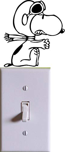 Bermuda Shorts Graphics Snoopy Aviator Wall Light Switch Cover Decal/Black/Kids Room Home Decor