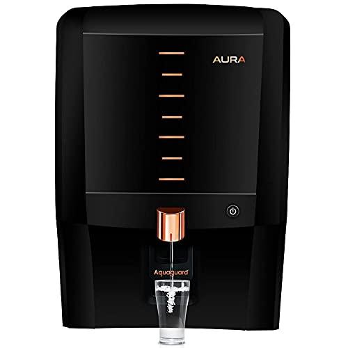 Eureka Forbes Aquaguard Aura RO+UV+UF+MTDS+Active Copper+Mineral Guard+UV e-boiling Technology, Water Purifier (Black & Copper)