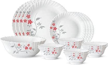Borosil Pack of 17 Opalware Rosalie Dinner Set (Microwave Safe)