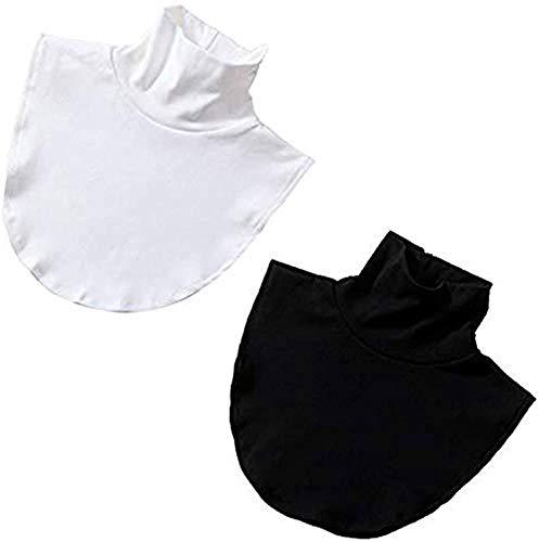 SYANO Damen Blusenkragen Kragen,Rollkragen Einsatz abnehmbar,Warm Blusenkragen Einsatz Fake Kragen Abnehmbare Rollkragen aus Baumwolle (2 pcs Einfarbig)