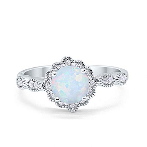 Blue Apple Co. Halo Floral Art Deco Wedding Engagement Ring Created White Opal Round Cubic Zirconia 925 Sterling Silver, Size-9