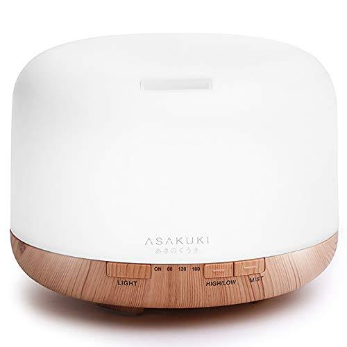 ASAKUKI 500ml Aroma Diffuser, Ultraschall Aromatherapie Diffuser für Ätherische Öle, Luftbefeuchter mit Timer, Automatische Abschaltung bei Wasserlosem Zustand, und 7 Arten LED Lichtfarben