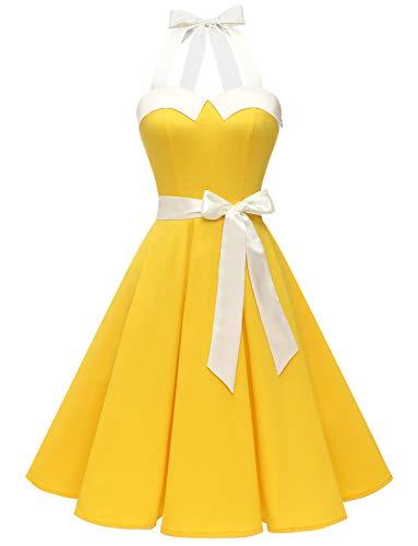 Dressystar Vestidos Corto Cuello Halter Estampado Flores y Lunares Vintage Retro Fiesta 50s 60s Rockabilly Mujer Amarillo Solido XXL