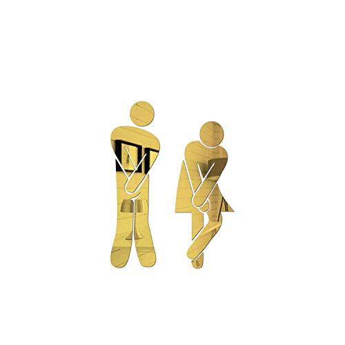 3d Wandaufkleber Hauptdekoration  3D Acryl Bad Spiegel Aufkleber Frau & Mann WC Zeichen Spiegel Wandaufkleber Home Hotel Waschraum Tür Zeichen Spiegel Aufkleber-Gold-