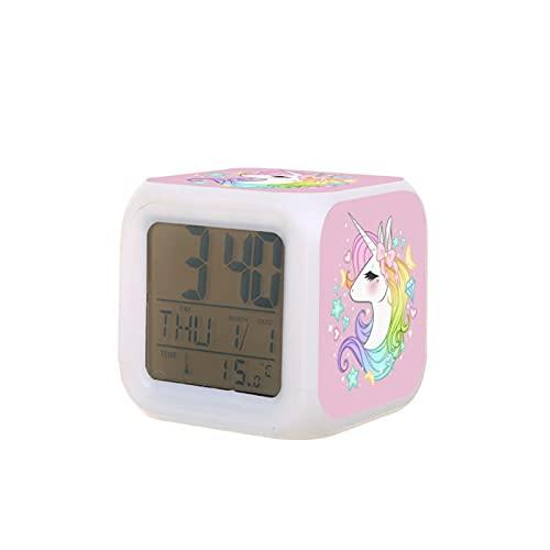 Reloj despertador LED con diseño de unicornio multifunción
