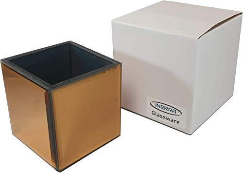 INERRA gespiegelde glazen kubus vaas - roodgoud - voor bruiloft tafel opzetstukken, kaarsen en tafelblad design