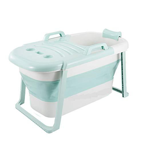 YONGJUN Opvouwbare vrijstaande badkuip, draagbare badkuip voor douchecabine met deksel, om de temperatuur te behouden, afmetingen: 117x65x60cm With lid groen