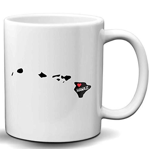 Kaffeetasse mit Hawaii-Flagge, 325 ml, Weiß