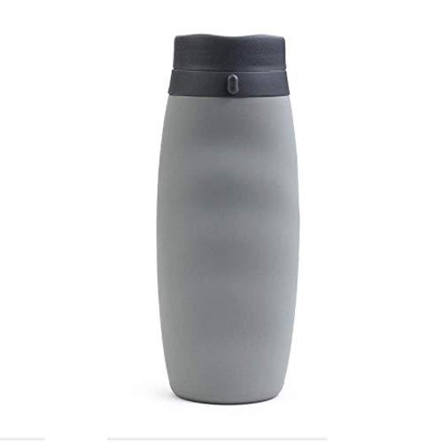 QYWJ Botella de Agua Plegable, Botella de Agua de Silicona a Prueba de Fugas, Botella de Agua Deportiva Reutilizable de 600 ml para Viajes/Camping/al Aire Libre/Senderismo/Gimnasio
