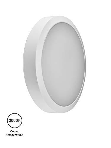 LED-Wandleuchte WL92 von Collingwood | Runde LED-Leuchte mit 30 cm Durchmesser für stark frequentierte Bereiche, Flure und Treppen im Innen- & Außen-Bereich (IP65, IK08, 14,6 Watt, 3000K)