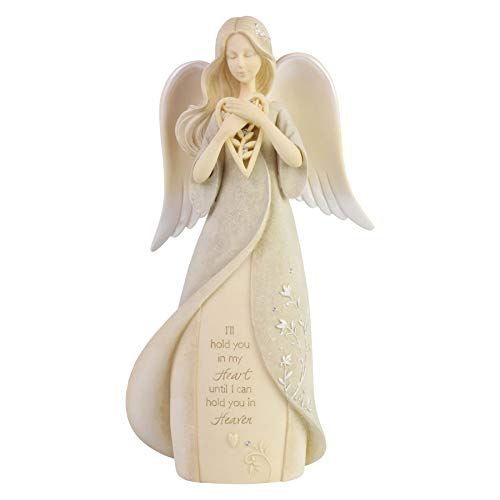 Enesco Foundations Heart Hold You in Heaven Bereavement Angel Figurine, 8.07 Inch, Multicolor