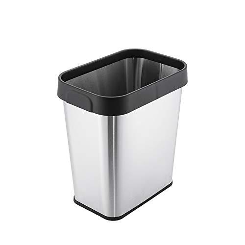 Bote Basura Sencilla de basura de acero inoxidable Can hogar abierto cubo de basura del acero inoxidable de la parte superior abierta Papelera de Portada contenedores de basura Papelera Cubo de Basura