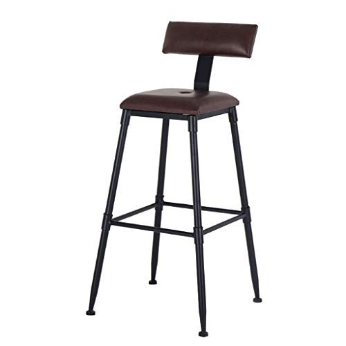 AYU Bar Stools, Counter Height Vintage Leathaire Bar Stools, Kitchen Pub Bar Stools with Backs, Home Bar Chairs for Kitchen Living Room and Dining Room, 350 lbs Capacity (Brown)