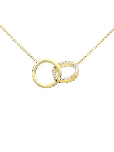 Halskette Kette Collier Gelbgold 333 Gold (8 Karat) Mit Stein Zirkonia Schwarz Weiß 45cm Damenkette Goldkette Dajana L-01370-G301-CZC-whi-CZC-bla-AK10-F45cm
