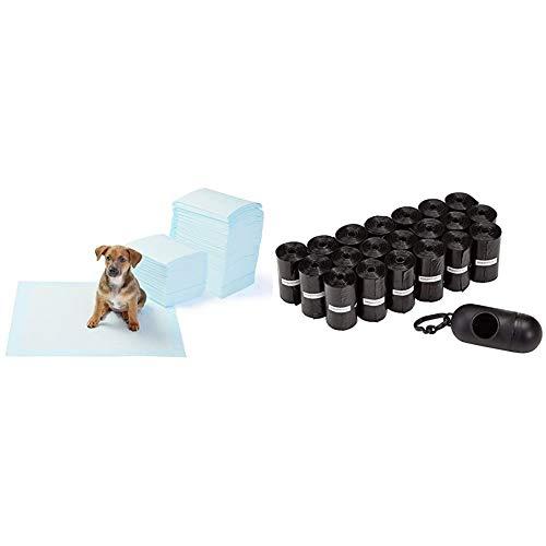 AmazonBasics - Toallitas de entrenamiento para mascotas (tamaño regular, 150 unidades) + Bolsas para excrementos de perro con dispensador y clip para correa (300 bolsas)
