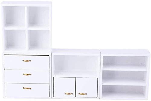 PRIDE S Miniatur-Puppenschränke Mini-Holz-Lagerschrank 1:12 Mini Puppenhaus Wohnzimmer -Bett-Zimmer Filing Kühlschrank Arcade File Cabinet Kit (Color : White)