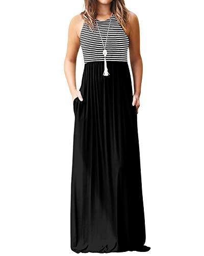 YOINS Maxikleider Damen Strandkleid Sommerkleid für Damen lang Ärmellos Strandmode mit Streifen A-schwarz EU48