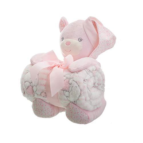 Manta para bebés, Set Peluche Oso con Manta bebé de Poliester 100x75 cm, Regalo Recien Nacido Bebé- Rosa