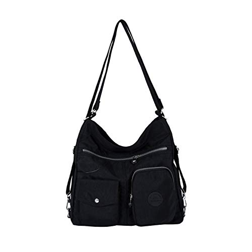 NOTAG Bolsos de Mujer, Impermeable Nylon Bolso Bandolera Multifuncional Mochilas Bolso Hombro Shopper (Negro)
