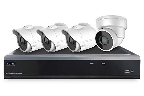 DIGITUS DN-16121 Full HD Hybrid Netzwerk Video Rekorder Kit, 3 Bullet, 1 x Dome Kamera, 4 Kanal AHD, 2 Kanall IP, 12 W, 12 V, 16 Stück