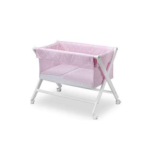 Pirulos 28900514 - Vestidura minicuna, diseño stars, algodón, color blanco y rosa