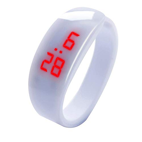 Tonsee LED Digitalanzeige Armbanduhr Fitness Armband Silikon Stoppuhren Sportuhren Schrittzähler Kalorienzähler Sport Smart Uhr Mode Sport Uhr Delphin Uhr für Damen Herren und Kinder (Weiß)